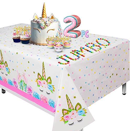 """Extra-Large Unicorn Tablecloth, Set of 2 Unicorn Table Cloth for Birthday Party, 108""""x54"""" Disposable Table Cover, Ideal Party Supplies for Unicorn Themed Baby Shower and Birthday Decoration for Girls"""