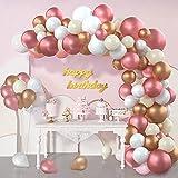 YFWUQI Kit de Guirnalda de Globos, 145 piezas Arco de Globos Helio para cumpleaños Oro Rosa Blanco Albaricoque Para Niñas, Niños, Bodas, Fiesta de Cumpleaños, Baby Shower, Celebración de Cecoración