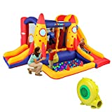 JOYMOR Bounce House Double Slide Bouncer Inflatable Jumping Castle Playing Center Kids Party Gift with Air Blower (Rocket) …