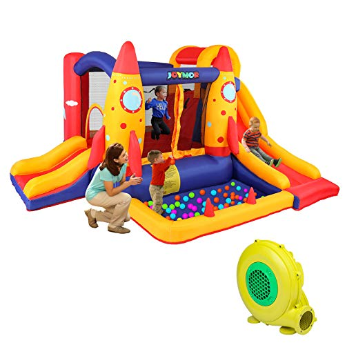 JOYMOR Bounce House Double Slide Bouncer Inflatable Jumping Castle Playing Center Kids Party Gift...