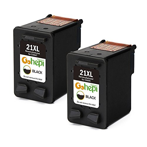 Gohepi Remanufactured HP 21XL 21 Cartucce d'Inchiostro Confezione da 2 Nero per HP Deskjet 3940 D1530 F2280 D2360 D2460 D1460 F2180 F380 F4180, HP Officejet 4315, HP PSC 1410