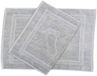 HomeLabels 20-Inch-by-27-Inch Cotton Washable Bath Mat, 2 Pack, Silver