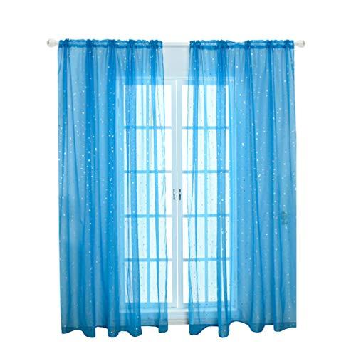 LIOOBO Lámina romántica Patrón de Brillo de Estrella de Plata romántica Cortinas Transparentes Pantalla de Ventana para persianas para habitación de niños Dormitorio Azul