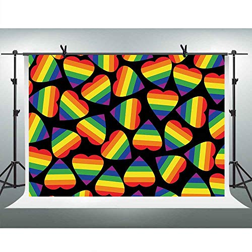 FHZON 10x7ft Pride Photography Backdrop Rainbow Colored Striped Heart Shapes Background Gay Lesbian Love Parade Print Themed Party Wallpaper Photo Booth Props LSFH630