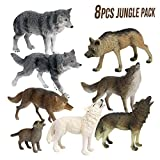 Mini Tudou 8 PCS Multicolor Wolf Toys Figures,Animal Figurines Jungle Pack.Cool Collection & Exhibits Best Gift For Ages 3 4 5 Boys & Girls