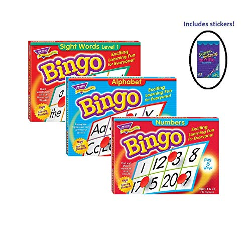 Trend Enterprises Set of Bingo Games for Kids, Learn Numbers, Alphabet, Sight Words - Help with Reading - Toddlers to Third Grade