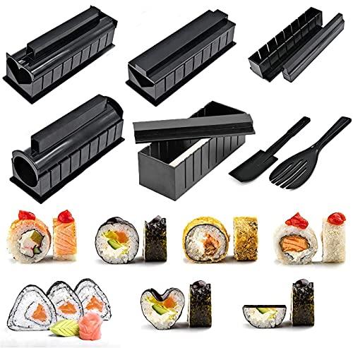 Juego de 10 piezas para hacer sushi, juego de alfombrillas de plástico para hacer sushi, forma de arroz y espátula, fácil de usar, para principiantes y profesionales en casa, restaurante, hotel
