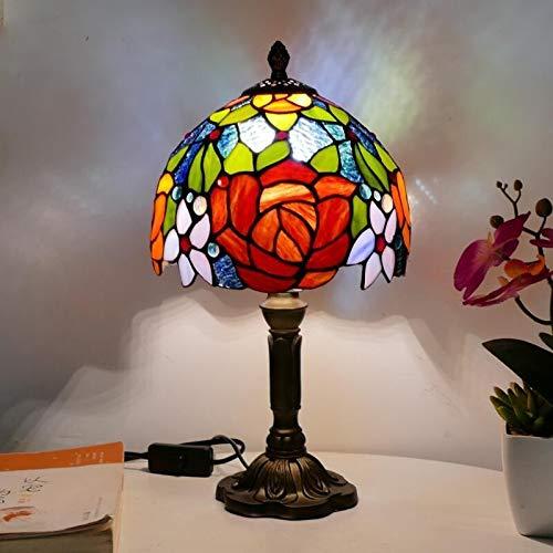 WoerFu Tiffany Lámpara de mesa 20 cm lámpara de cristal E27 Dormitorio Iluminación de la cama de la cama Creativa Moda de resina Base Lámparas de mesa (Color : EU Plug)