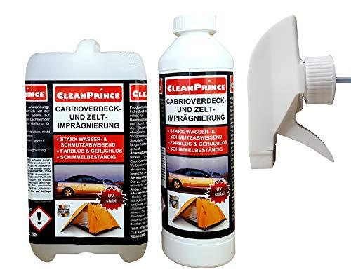 CleanPrince 2500 ml Cabrioverdeck- und Zelt-Imprägnierspray 2,5 Liter Cabrio Cabriolet Cabrioimprägnierung Cabrioletimprägnierung Convertible Weatherproofer Verdeck Auto Gewebe Imprägnierspray Zelt Ze