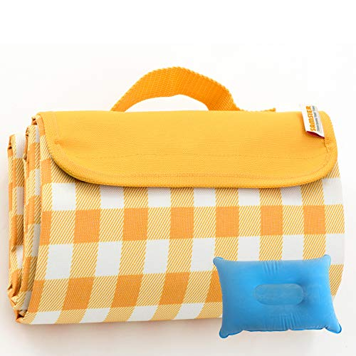 SAMSIER Large Picnic Blankets Waterproof Foldable Washable, Portable Outdoor Camping Mat Yellow-and-White