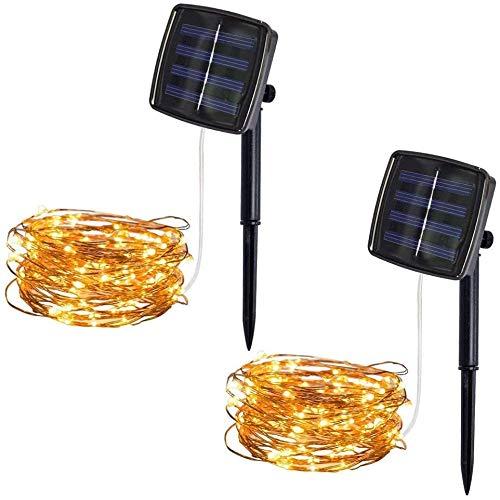 2 Packungen Solar Lichterkette Aussen 5M 50pcs LED Wasserdichte Solar-Deko-Lichterkette LED Licht für Weihnachten Partys Garten Hochzeiten Dekoration, Warmweiß [Energieklasse A+++]