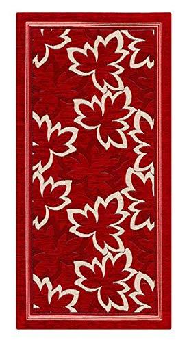 Home Life Alfombra Antideslizante y Resistente a Las Manchas para la Cocina – Moderna Alfombra Lavable Fabricada en Italia –Alfombra Rectangular con diseño de Hojas (55x80 cm, Rojo)