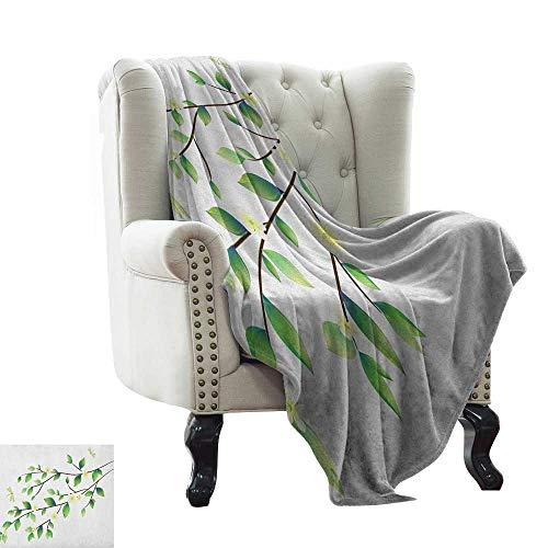BelleAckerman manta estampada libélula, hojas con pequeñas libélulas y jazmín, ilustración botánica ambiental, verde blanco cálido manta para sofá/cama 50'x60'