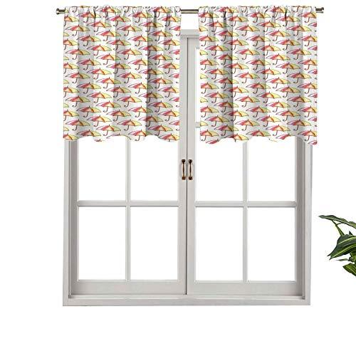 Hiiiman Cenefas de cortina con bolsillo para barra, parasoles de acuarela con coloridos toldos doblados en espiral, juego de 2, 137 x 91 cm para ventana de cocina