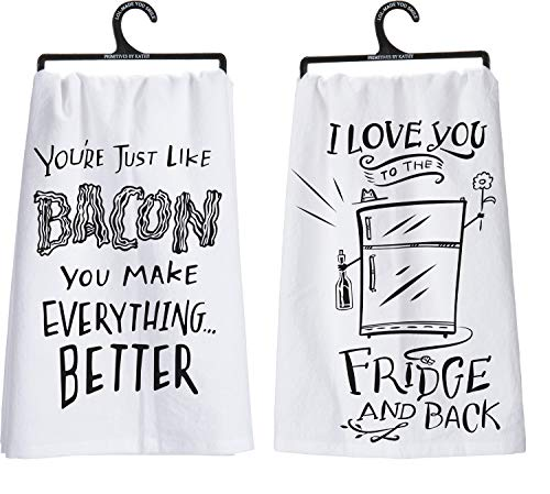 Primitives by Kathy PBK You're Just Like Bacon, I Love You to The Fridge and Back Funny Dish Towel Bundle