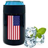 Beer Coozies for Cans - American Flag Beer Can Insulator | 12 oz Metal Can Coozie Insulated Can Cooler, Stainless Steel Drink Thermos Holder | Beverage Rambler Coolers, Dad Coozy Gift Cozy Cozies