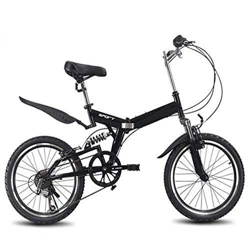 Bicicletta pieghevole da 20 pollici, 6 velocità variabili, mountain bike, per bambini, pieghevole, colore rosso