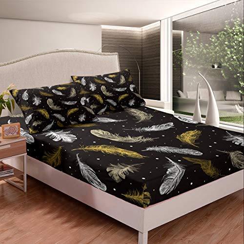 Juego de sábanas de plumas de pavo real con plumas de pavo real, tamaño king y estilo boho para cama de granja de animales de fondo para niños y niñas, colección de regalo, color dorado y negro