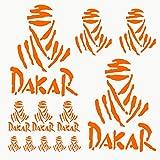 Autodomy Confezione Adesivi Dakar 12 Pezzi per Auto o Moto (Arancione)