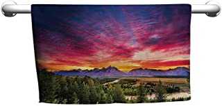 flybeek Cute Hand Towels Lake House Decor Collection,Colorful Skyline with Clouds in The Forest Lake River Mountain Landscape Park Sunburst,Multi,Suction Towel bar for Shower