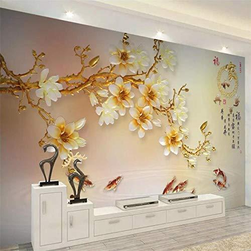 rylryl Benutzerdefinierte Tapete 3d Wandfarbe geschnitzte Magnolie Wohnzimmer Schlafzimmer Hintergrund Wandkunst Glas Wandtapete-400x280cm