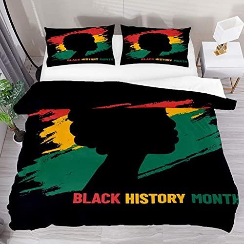 ATZTD Juego de ropa de cama transpirable Mes de la historia africana 3 piezas funda de edredón (1 funda de edredón + 2 fundas de almohada) decoración de la habitación microfibra ultra suave