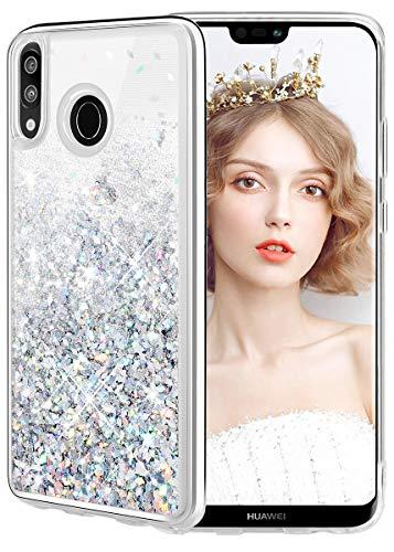 WLOOO Cover Huawei P20 Lite, Cover p20 Lite, Huawei p20 Lite Cover, Glitter Custodia Bling Liquido TPU Silicone Cover Protettivo Morbido Brillantini Trasparente Quicksand Case (Argento)