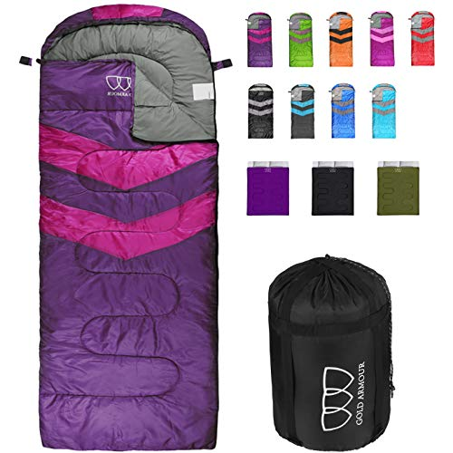 Gold Armour Sleeping Bag for Indoor and Outdoor Use - Great for Kids, Boys, Girls, Teens, Adults. Ultralight and Compact Bags for Sleepover, Backpacking, Camping (Purple/Fuchsia Left Zipper)