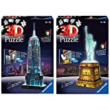 Ravensburger 12566 1- Puzzle 3D Building: Empire State Building Night Edition, Multicolor + Puzzle Building 3D Night Edition: Estatua De La Libertad (12596), Color, Modelo Surtido