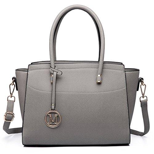 Miss Lulu Borsa donna alla moda Borsa a mano grande Borsa a tracolla elegante borsa messenger (grigio)