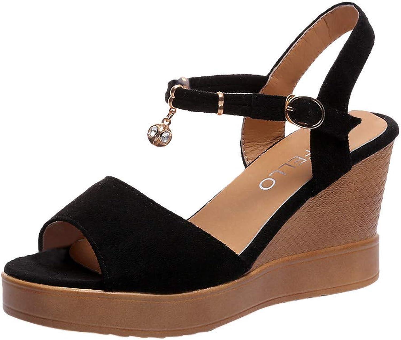 Caopixx Summer Sandals Women Teen Girls Pearl Wedges shoes Open Toe High-Heels Platform shoes Black US 5