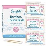 600 x Bastoncillos de Oídos de Bambú (6 x 100) de Snowfield | Bastoncillos de Algodón 1...