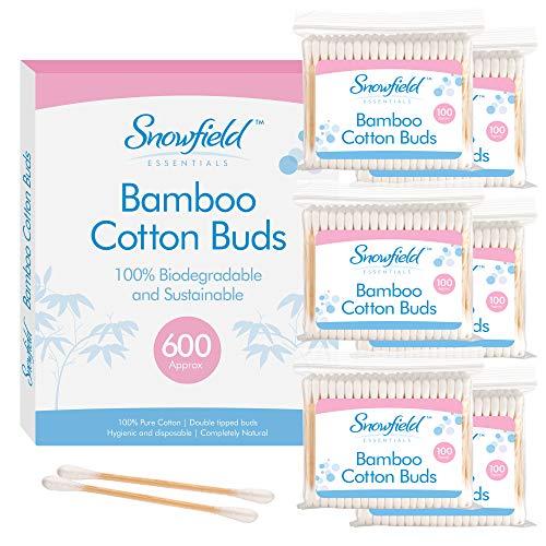 Coton Tige 600 Unités (6 x 100) de Snowfield – Cotons Tiges Nettoyeur Oreilles 100 % Biodégradables et Écologiques