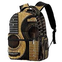 ティーンガールズボーイスクールデイパックアウトドアウォークトラベルバッグ用バックパックギター 印刷されたサックパック