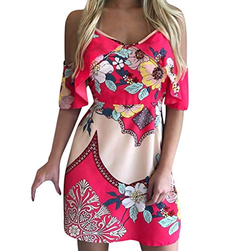 VEMOW Blusas Camisas Mini Vestido Corto de Verano con Estampado y Hombros Descubiertos con Tiras en los Hombros Falda
