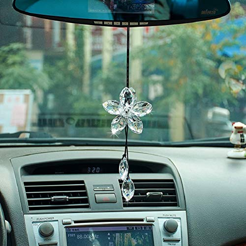 ATMOMO Crystal Flower Car Rear View Mirror Pendant Car Hanging Ornament Lucky Car Accessories (Transparent)