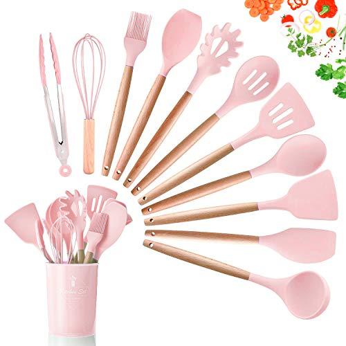 DOPGL Juego de 11 utensilios de cocina de silicona, resistentes al calor, mango de madera, sin BPA, no tóxico, espátula, espátula, cuchara, utensilios de cocina antiadherentes Rosa