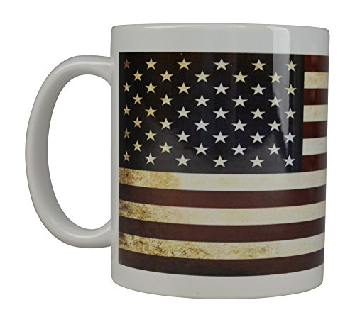 Best Coffee Mug USA Rustic Tattered Flag American Patriot Novelty Cup Gift Military Veteran United States