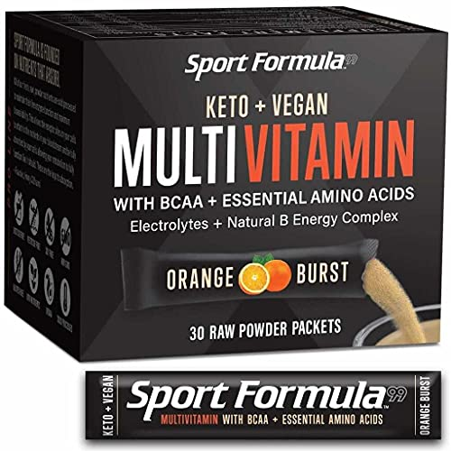 Bariatric MultiVitamin Powder for Men and Women - Keto Vegan Friendly Vitamins - BCAA BCCA Amino Acid Powder Packets Orange Mix Won't Upset Your Stomach Powdered Digestive Enzymes Vitamin B Natural Flavoring Energy Complex