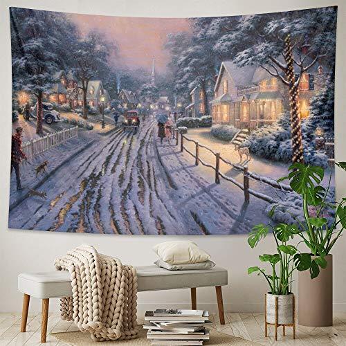 PPOU Hermoso Arte Tapiz árbol de Navidad Estilo Boho decoración Hippie Fondo Tela Cenefa Manta A7 150x200cm
