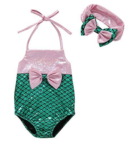 DEMU Badpak voor babymeisjes, One Piece Tankini, bikini, badmode zomer, zeemeermin prinses 100 groen