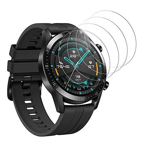 DASFOND Panzerglas Schutzfolie für Huawei Watch GT 2 46mm,9H Festigkeit Panzerglasfolie, Ultra-klar, Voller Schutz, Anti-Bläschen, Bildschirmschutzfolie für Huawei Watch GT 2 46mm-4 Stück