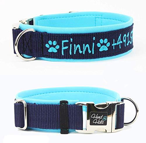 Hund&Hals Hundehalsband 2.0 Halsband mit Name Telefonnummer, komplett mit Neopren unterlegt, handmade