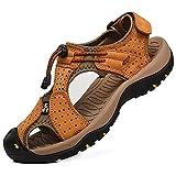 Rismart Hombre Punta Cerrado Gancho y Bucle Al Aire Libre Excursionismo Cuero Zapatos Sandalias y Chanclas SN1505(Broncear,42 EU)