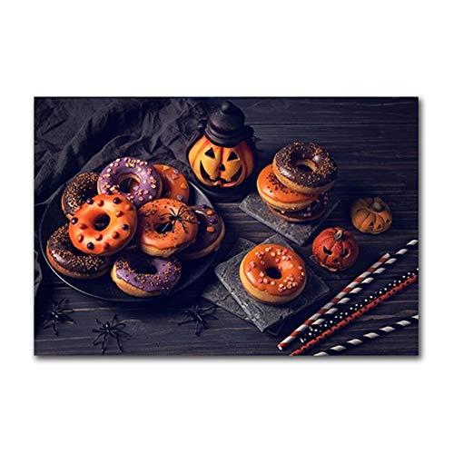 Geiqianjiumai Drôle Alimentaire Pain Toile Peinture Cuisine Mur décoration Photo Halloween Astuce ou Traiter Kid Chambre décoration Nordique Affiche