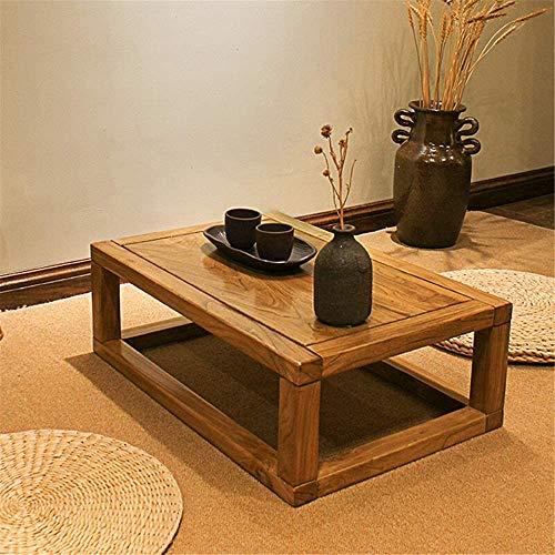 WSJ Delicate Kotatsu Tisch Massivholz Tisch Erker Tisch Couchtisch Tatami Tisch Ulme Teetisch Laptop Tablett (Farbe: Gelb, Größe: 60x40x20cm)