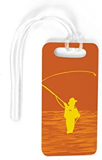 Fly Fishing Luggage & Bag Tag | Perfect Cast | Custom Info on Back | SMALL | ORANGE