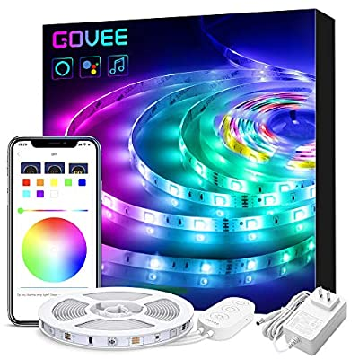 Alexa LED Light Strip, Govee WiFi APP Control 16.4ft Smart LED Strip Lights, Music Sync 16 Million Colors RGB LED Lights for Room, Home, Kitchen, TV, Party, Halloween, Christmas, Waterproof