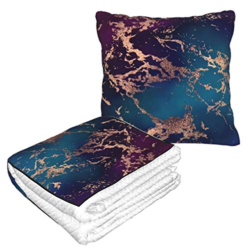 Travel Blanket and Pillow Premium Soft 2 in 1 Airplane Blanket,Marble Luxe Decor Dark Purple And Teal With Gold with Soft Bag Pillowcase, For sofa Camping car Traveling