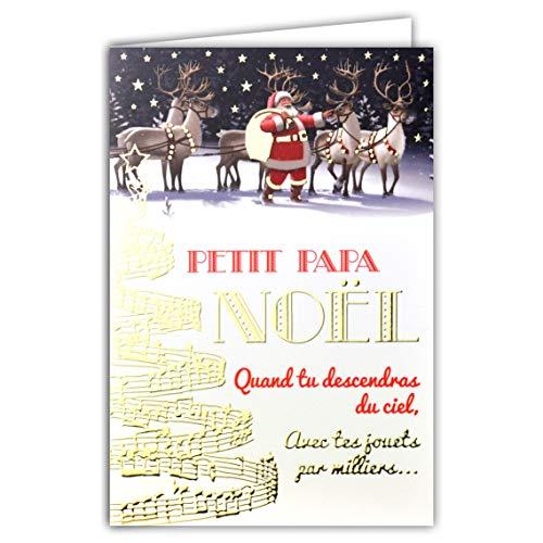 Kaart kleine papa Kerstmis wanneer je naar de hemel komt, met je speelgoed van duizenden papa Weihnachtsmann afzuigkap, geschenken rendier, muzieknotitie, goudkleurig